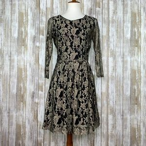 Anthro Maeve Lacefall Black Gold Lace Dress Sz 8